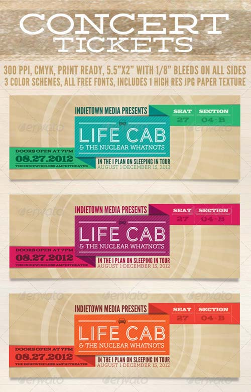 Graphicriver concert tickets for Concert ticket template psd