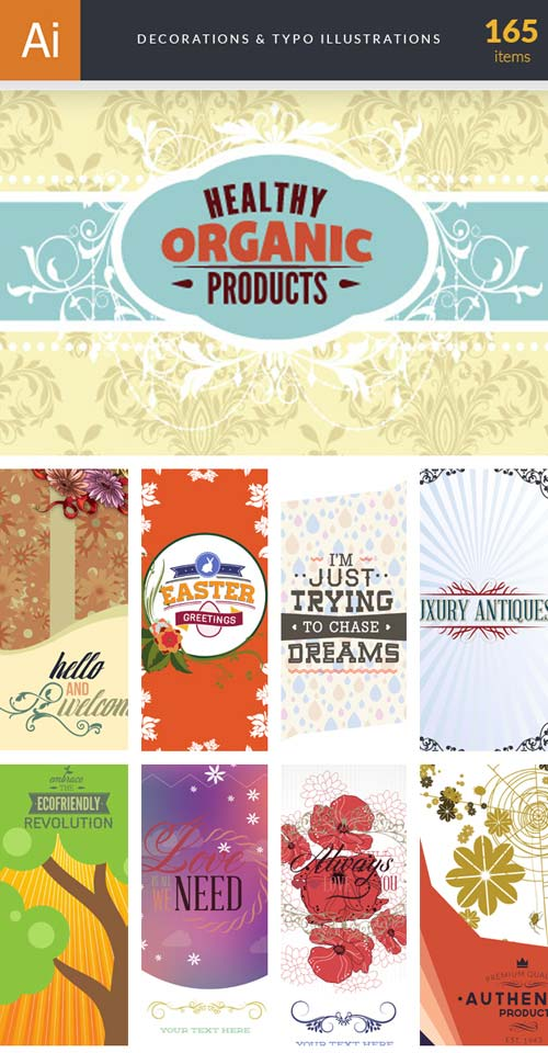 InkyDeals - 165 Decorations & Typo Illustrations