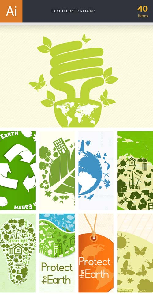 InkyDeals - 40 Eco Illustrations