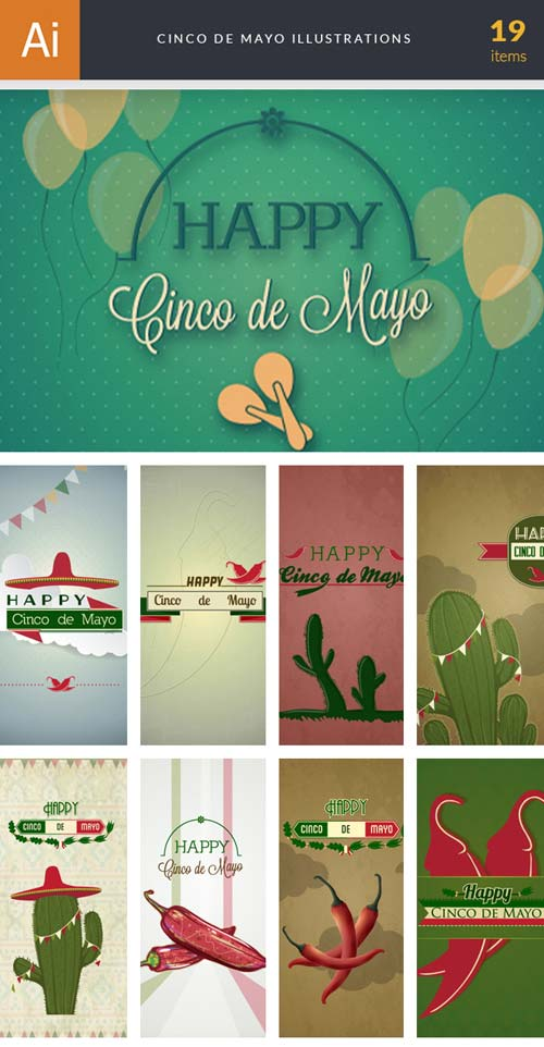 InkyDeals - 19 Cinco de Mayo Illustrations