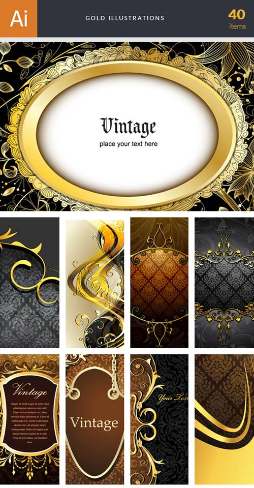 InkyDeals - 40 Gold Illustrations