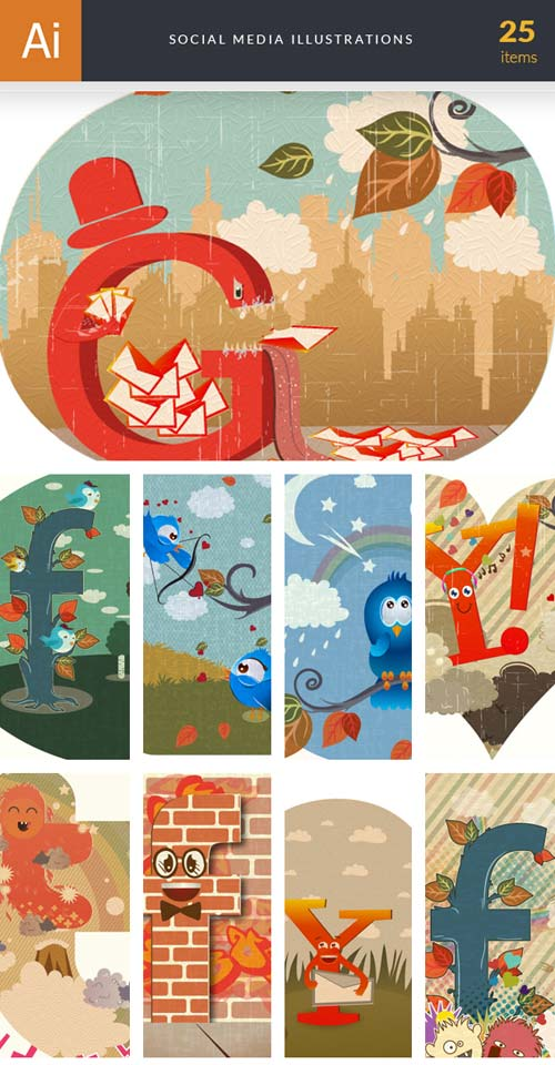 InkyDeals - 25 Social Media Illustrations