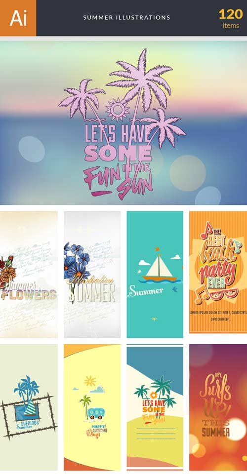 InkyDeals - 120 Summer Illustrations