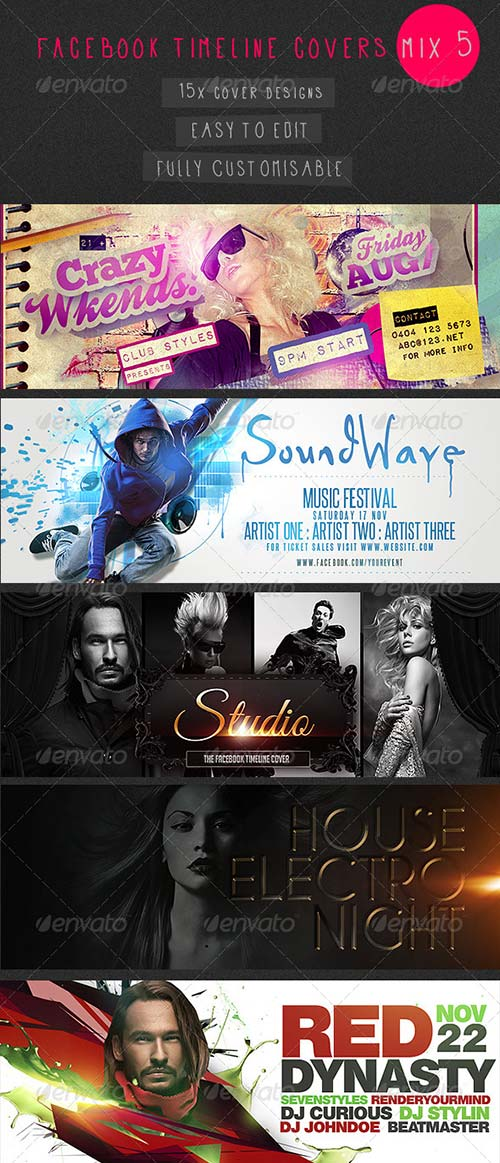 GraphicRiver Facebook Timeline Covers Mix 5 - 15 Templates