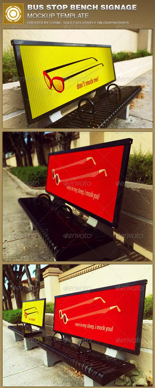GraphicRiver Corrugated Bus Stop Bench Signage Mockup Template