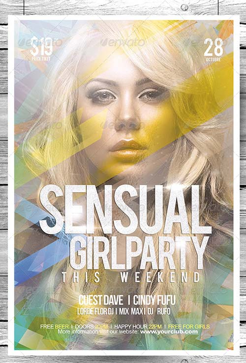 GraphicRiver Flyer Sensual Girl Party This Wekkend