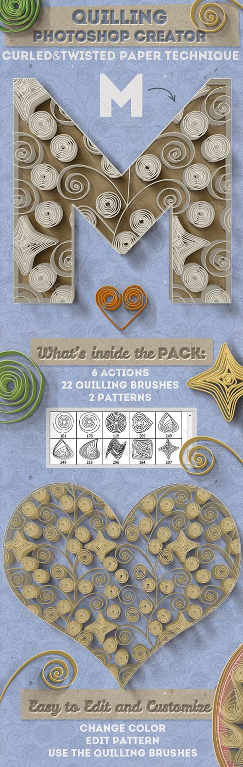 GraphicRiver Quilling Paper Art Photoshop Creator