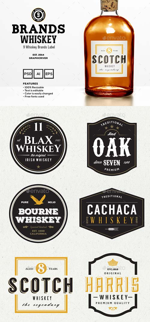 GraphicRiver 9 Whiskey Brands Label