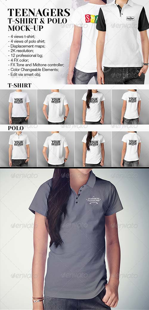 GraphicRiver Teenagers T-Shirt and Polo Shirt Mock-up