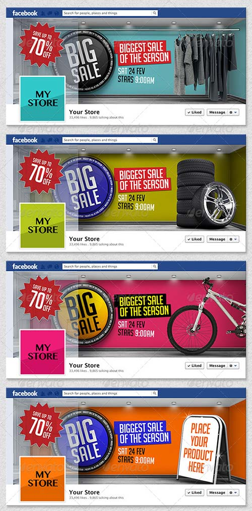GraphicRiver 4 3D Sales Templates for Facebook Timeline