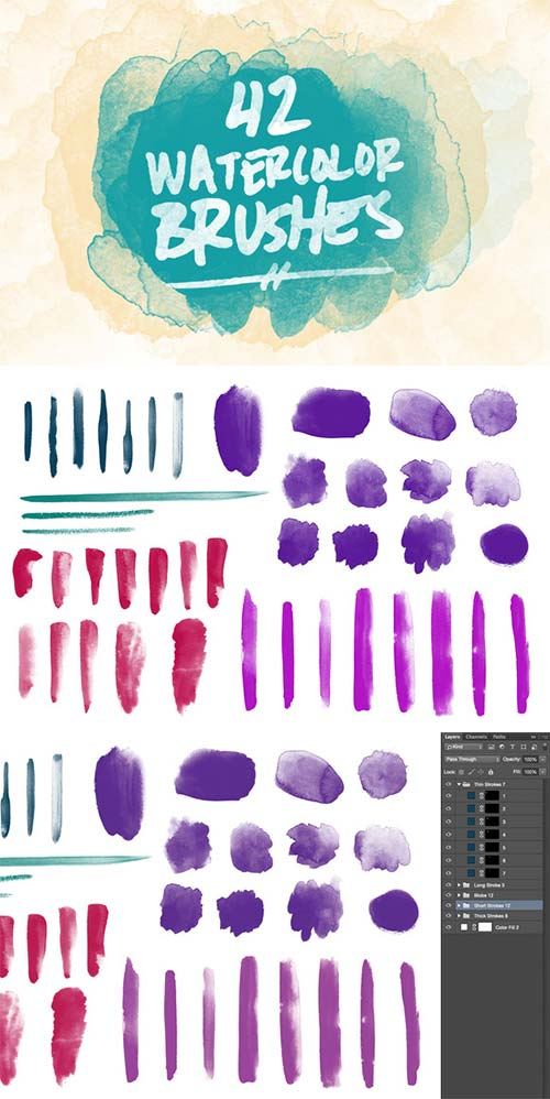 CreativeMarket 42 Watercolor Brushes