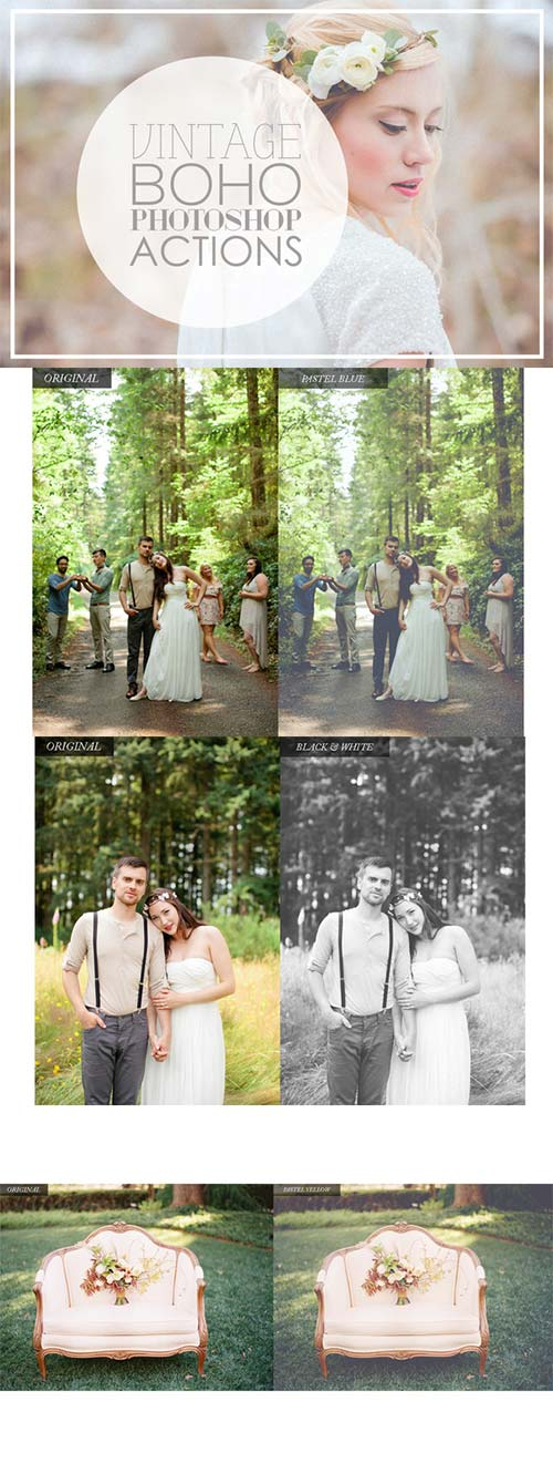 CreativeMarket Vintage Wedding Photoshop Actions 179858