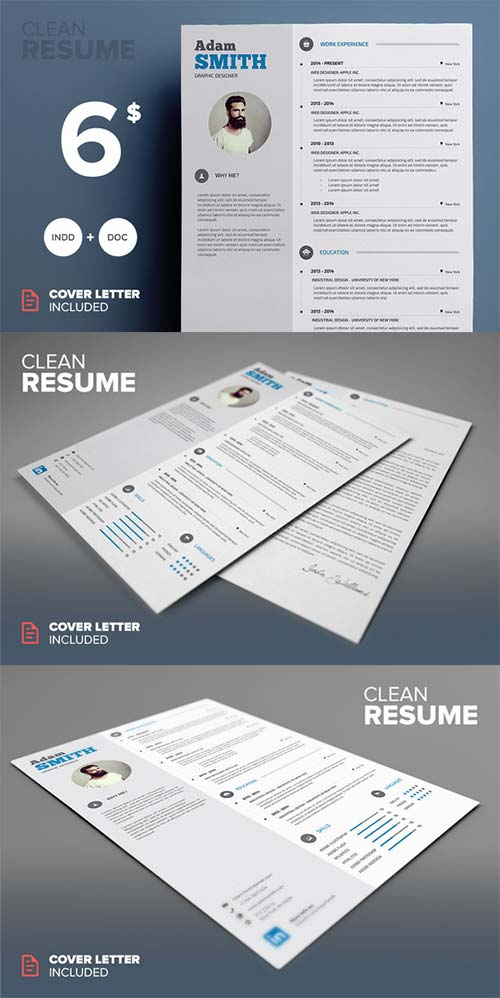 CreativeMarket Clean Resume - MS Word & Indesign