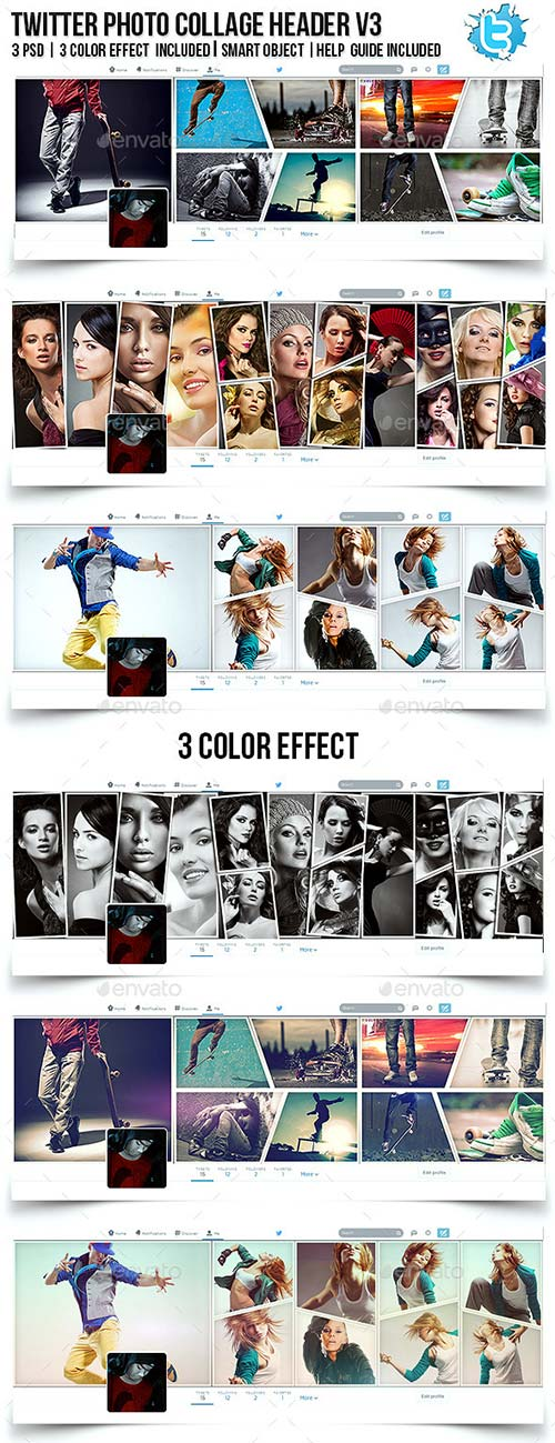 GraphicRiver Twitter Photo Collage Header V3