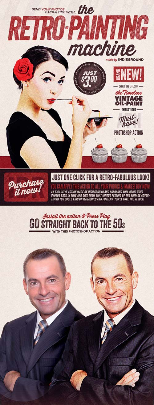 GraphicRiver Retro Painting Machine - Vintage Effect Action