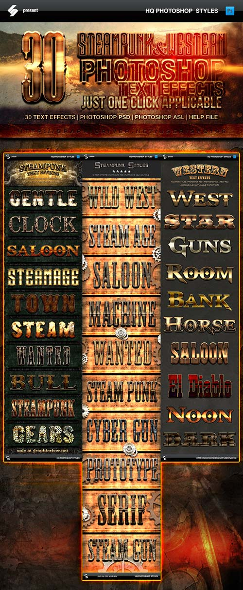 GraphicRiver Steampunk and Western Text Effects Bundle