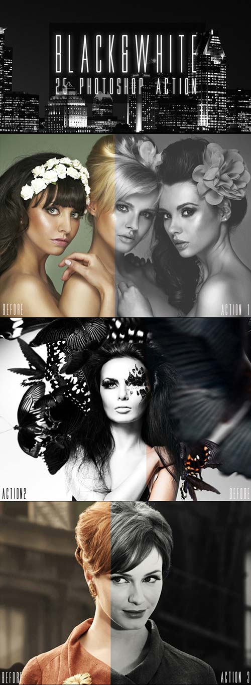 GraphicRiver 25 Black & White Photoshop Actions
