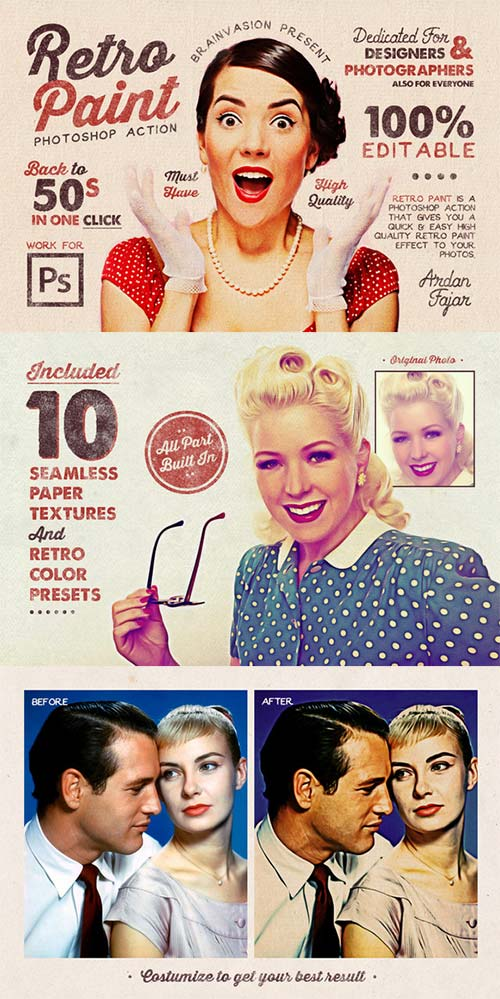 CreativeMarket Retro Paint - Photoshop Action