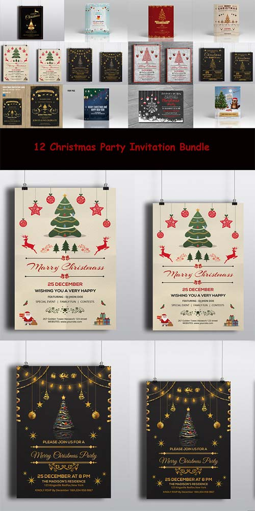 CreativeMarket 12 Christmas Invitation flyer Bundle