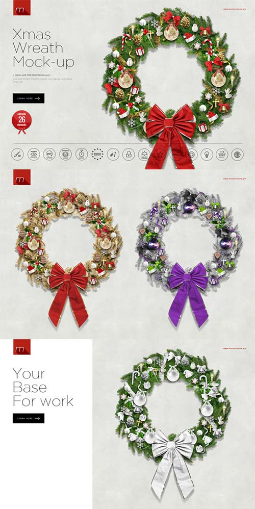 CreativeMarket Christmas Wreath Creator Mock-up
