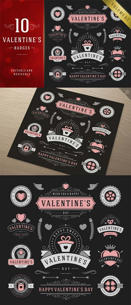 CreativeMarket Valentine's Day Logo Badges & Labels