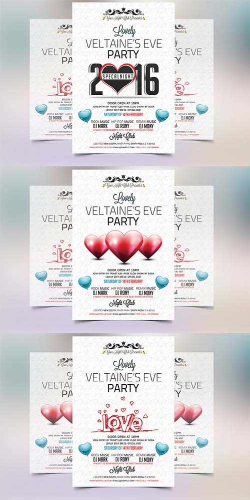 CreativeMarket Valentines Eve 2016 Party Flyer