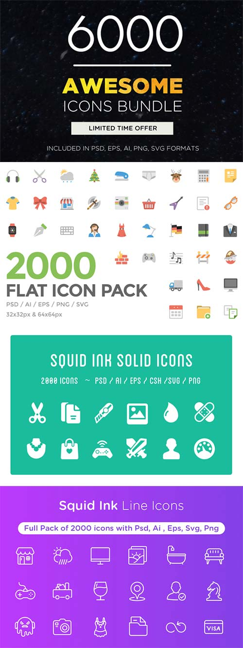 CreativeMarket Awesome Icons Bundle | 6000 Icons