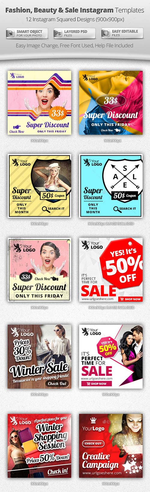 GraphicRiver Fashion, Beauty & Sale Instagram Templates
