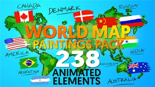 World Map Paintings Pack - After Effects Project (Videohive)
