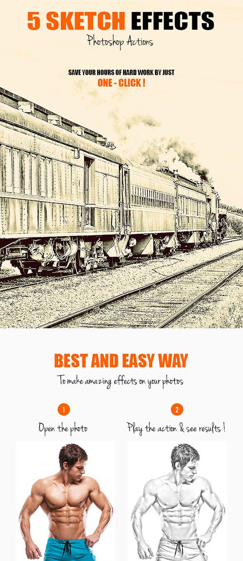 GraphicRiver 5 Sketch Effects - Photoshop Actions