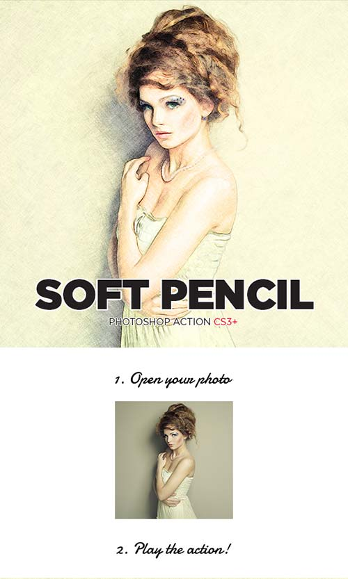 GraphicRiver Soft Pencil Sketch Photoshop Action CS3+