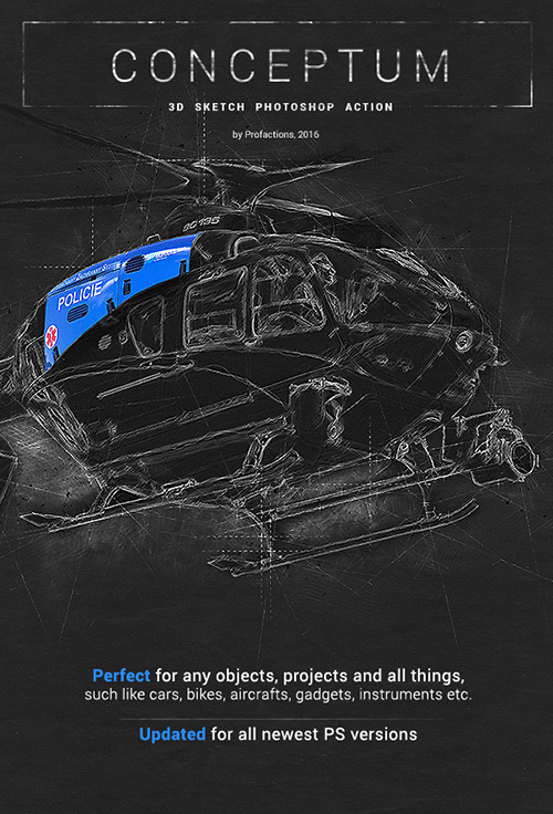 GraphicRiver Conceptum - 3D Sketch Photoshop Action