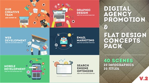 Digital Agency Promotion - Flat Design Concepts - After Effects Project (Videohive)