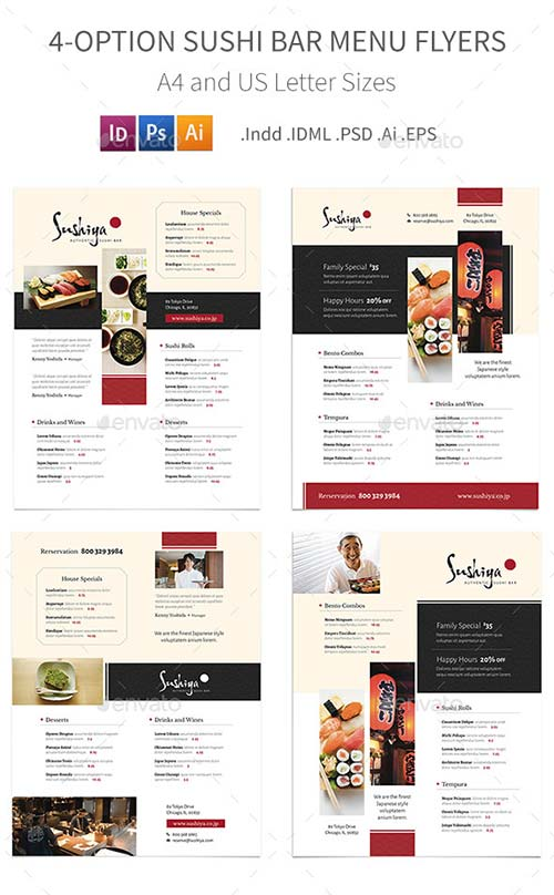GraphicRiver Sushi Bar Menu Flyers - 4 Options