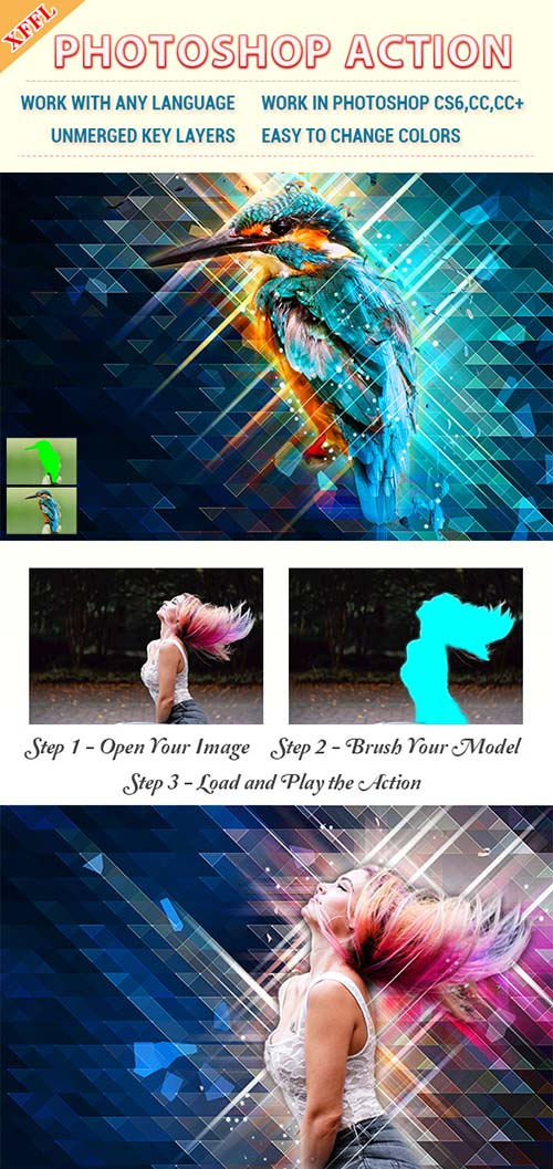 GraphicRiver Low Poly Art Photoshop Action