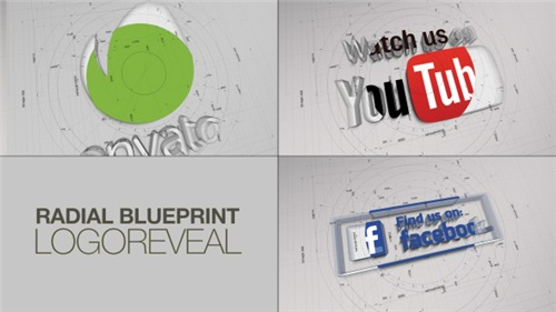 Radial BluePrint LogoReveal - After Effects Project (Videohive)