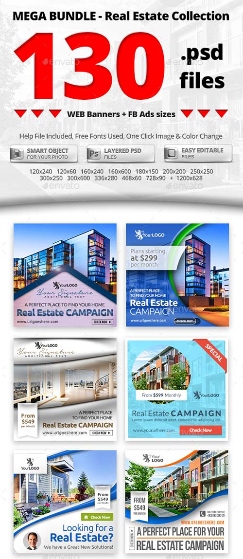 GraphicRiver 10 in 1 Real Estate Web & FB Banners - Mega Bundle 2