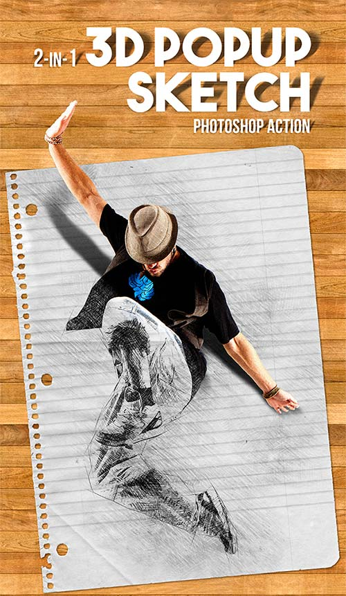 GraphicRiver 3D Popup Sketch Photoshop Action