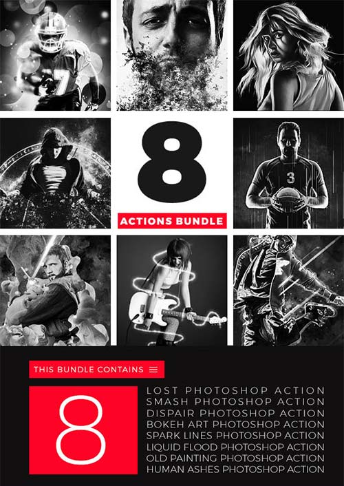 GraphicRiver 8 Actions Bundle