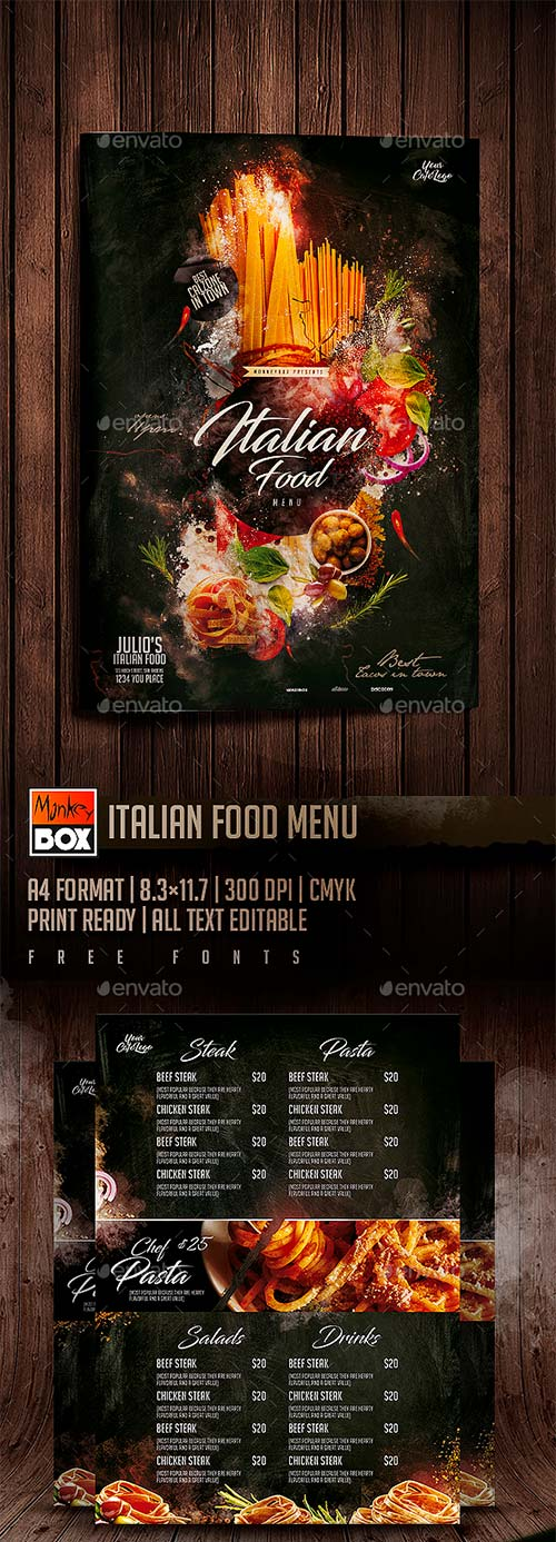 GraphicRiver Italian Food Menu
