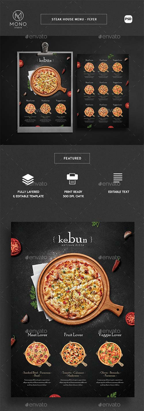 GraphicRiver Rustic Pizza Menu - Flyer