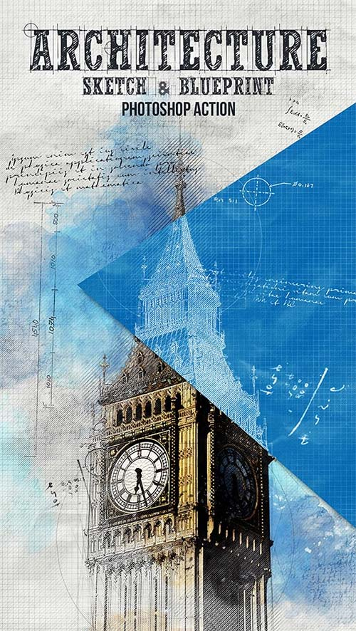 Graphicriver architecture sketch and blueprint photoshop action malvernweather Gallery