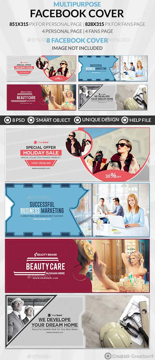 GraphicRiver Facebook Cover Bundle (Vol - 8) - 8 Design