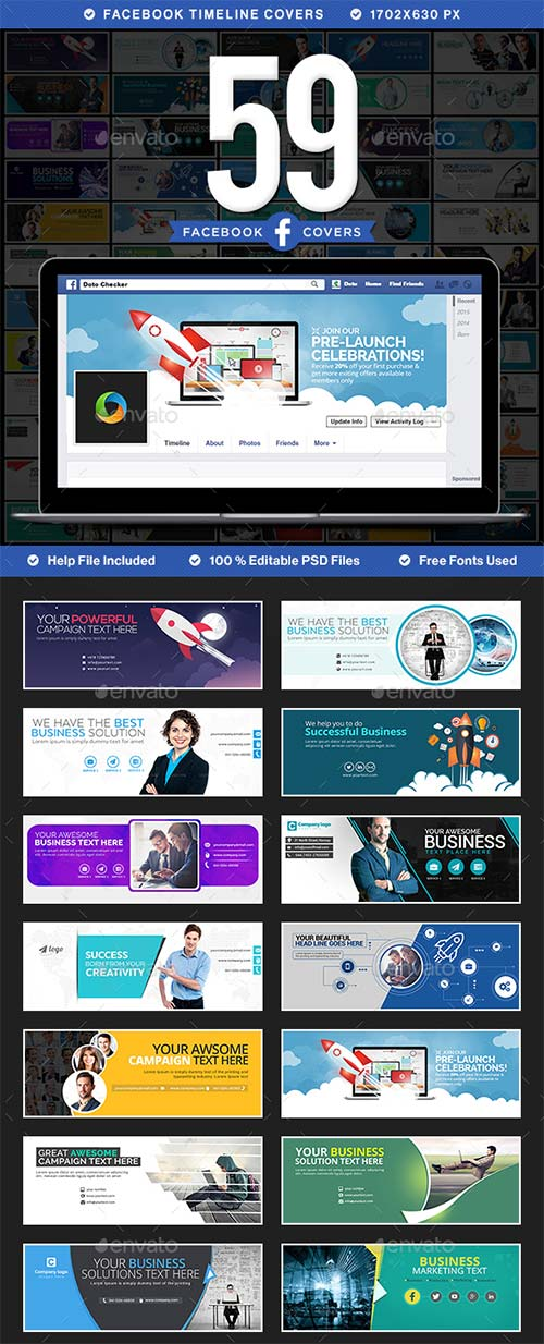 GraphicRiver Mega Facebook Timeline Covers Bundle - 59 Designs