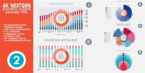 4K NextGen Resizable Statistics Charts & Infographics Pack Two - After Effects Project (Videohive)