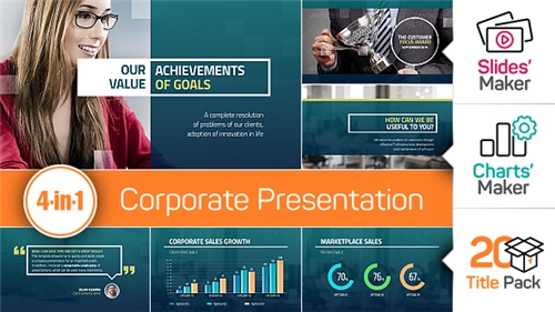 4-in-1: Corporate Presentation + Slides' Maker, Charts' Maker and Title Pack - After Effects Project (Videohive)