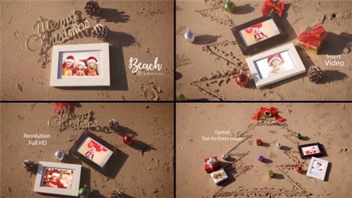 Christmas Photo Frame On Thee Beach - After Effects Project (Videohive)