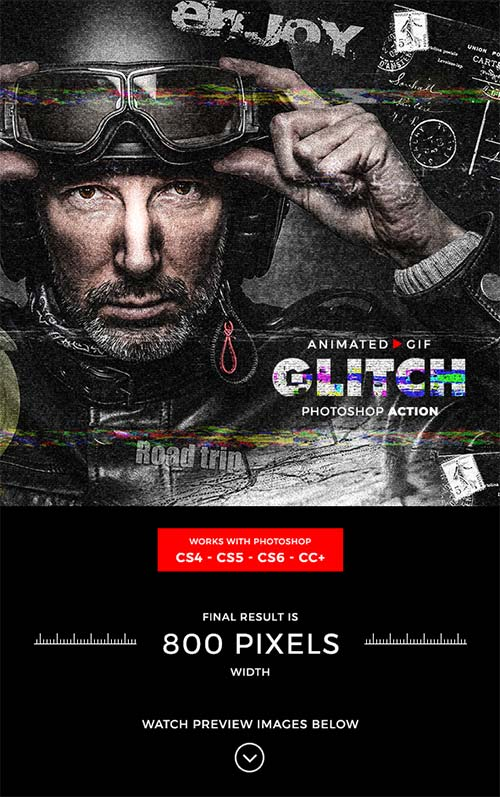 GraphicRiver Animated Glitch Photoshop Action
