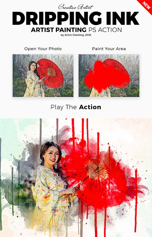 GraphicRiver Dripping Ink Artist Painting Photoshop Action