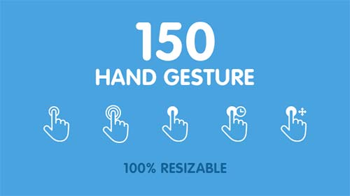 150 Animated Hand Gestures - After Effects Project (Videohive)